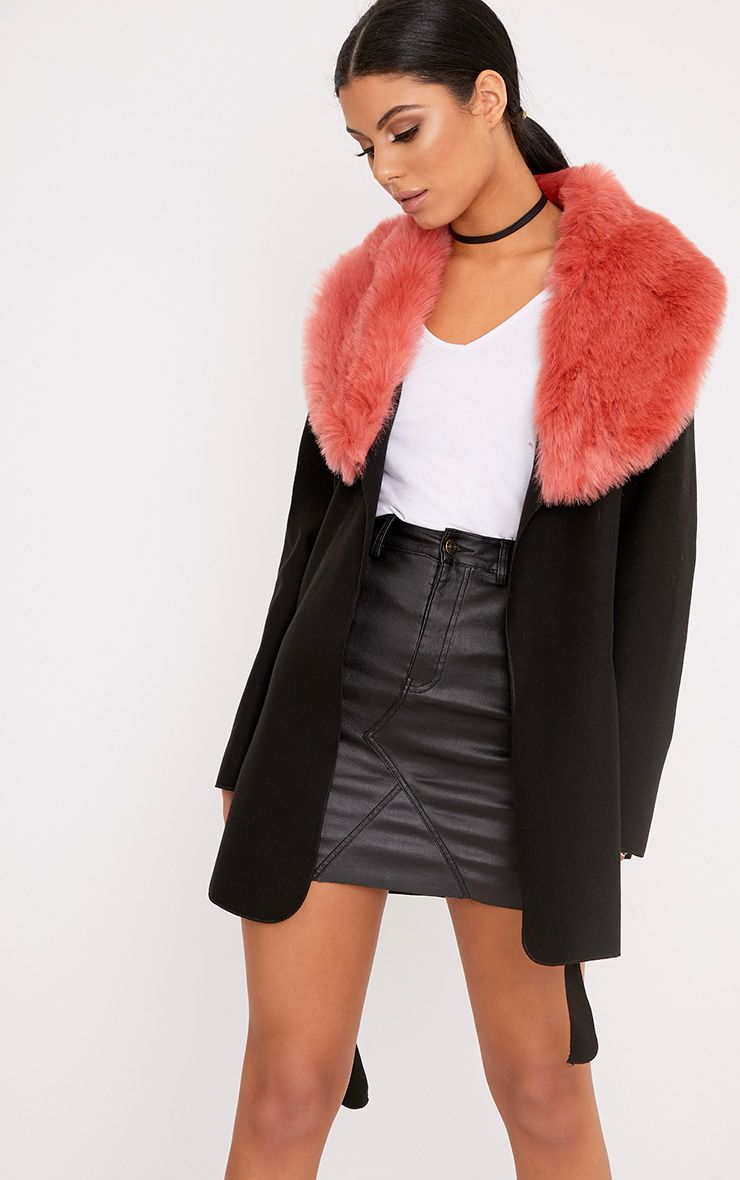 Lydia Black Contast Faux Fur Collar Belted Coat