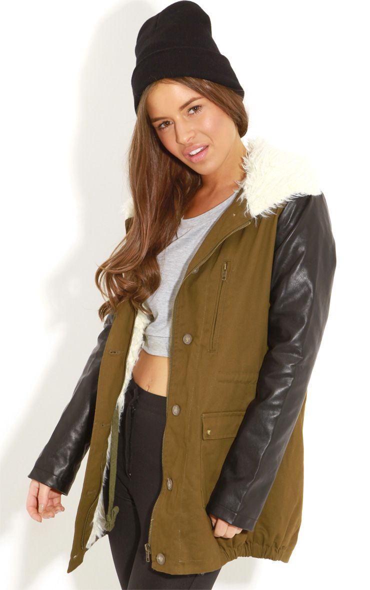 Roxy Khaki Faux Leather and Shearling Parka Coat 1