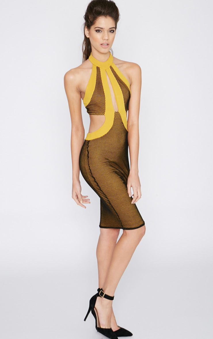 Ashlee Mustard Halterneck Fishnet Dress 1