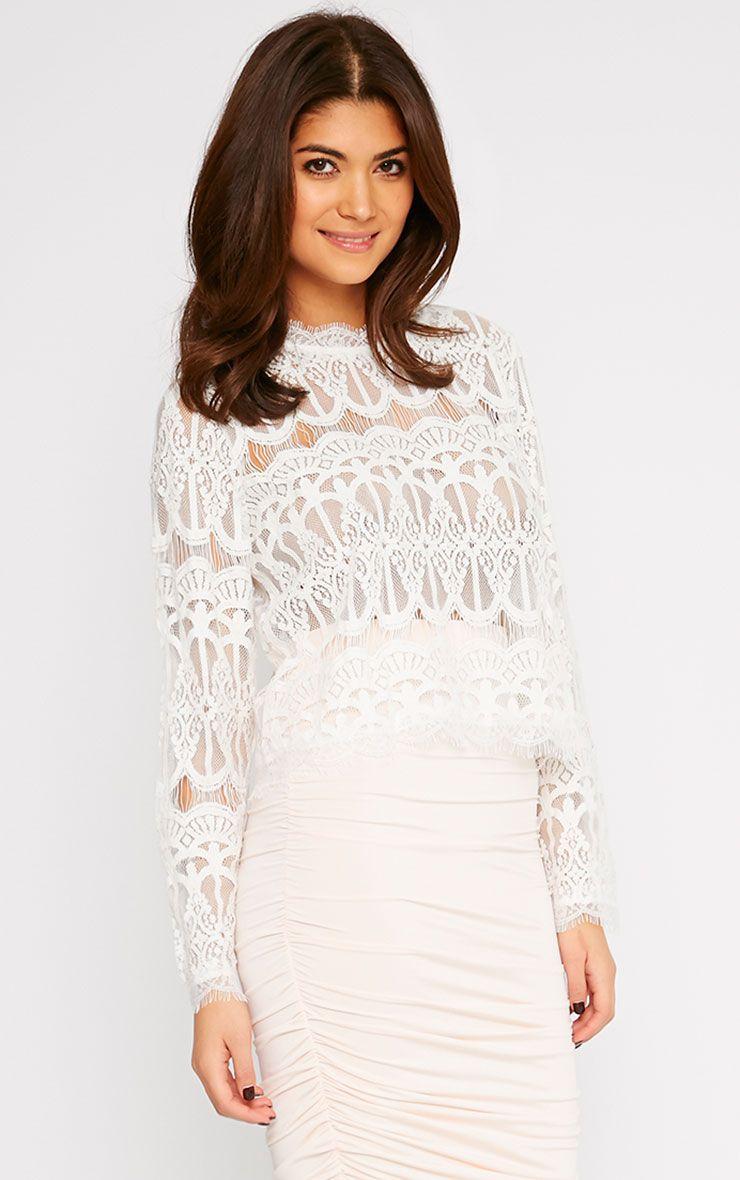 Susanna Cream Premium Lace Long Sleeve Top  1