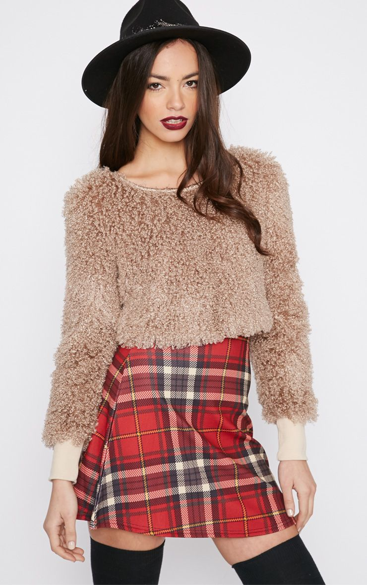 Monia Mocha Faux Fur Cropped Jumper  1