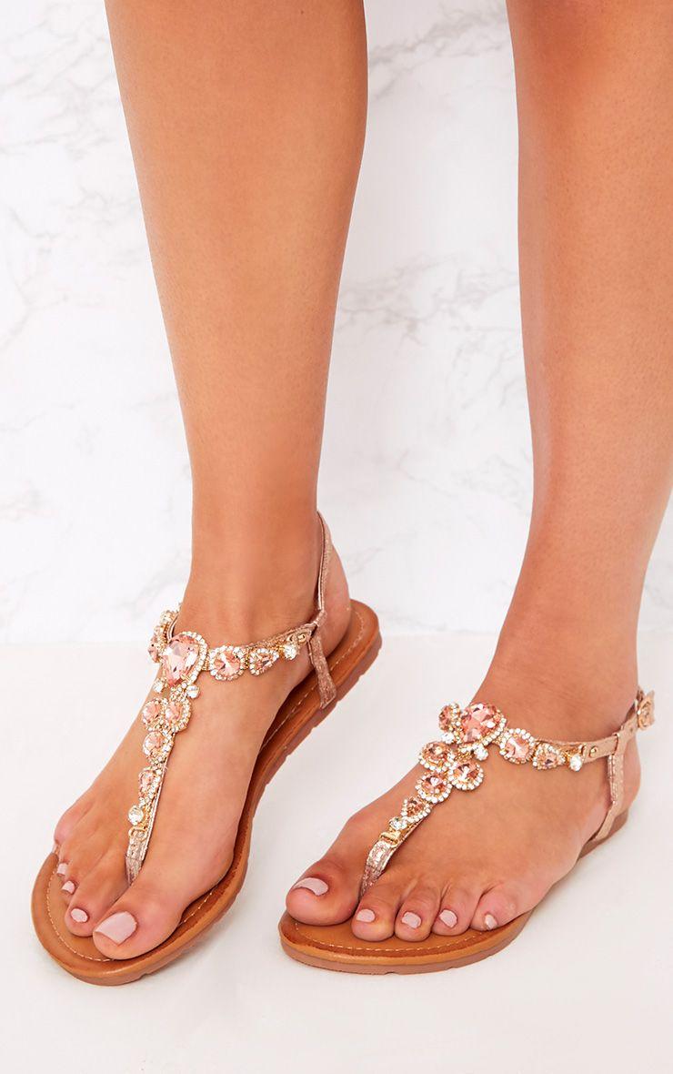Adela Rose Gold Jewelled Sandals