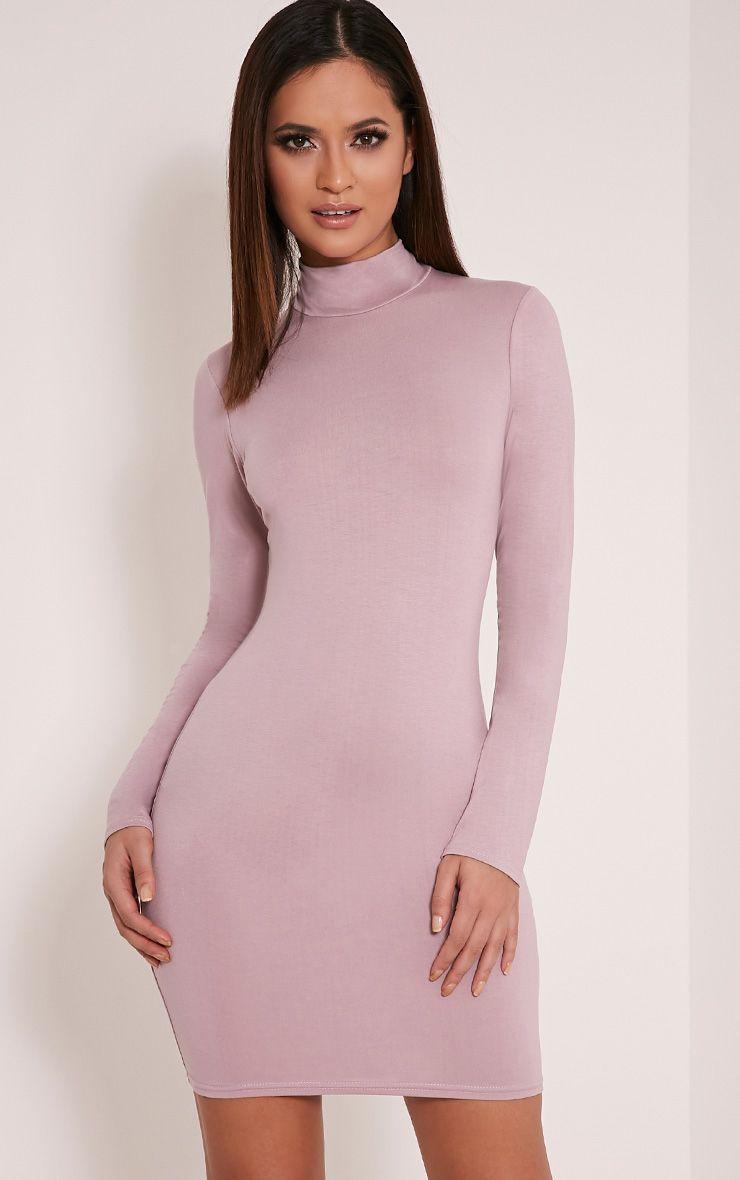 Basic Mauve Long Sleeve Bodycon Dress 1
