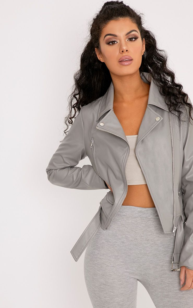 Polie Dark Grey PU Biker Jacket