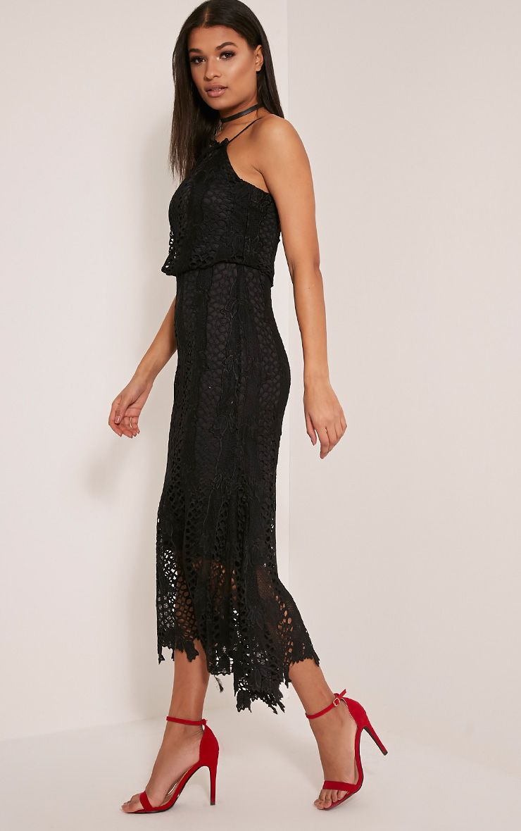 Reeya Premium robe midaxi en dentelle noire 4