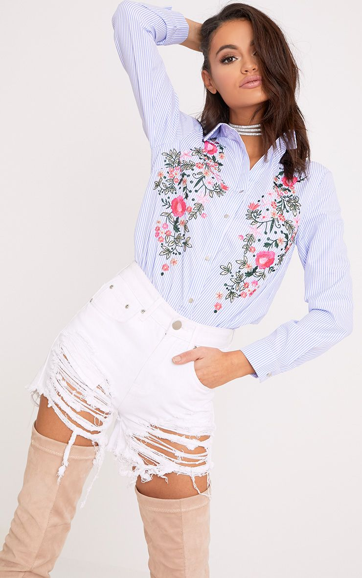 Pheobe Blue Embroidered Striped Shirt