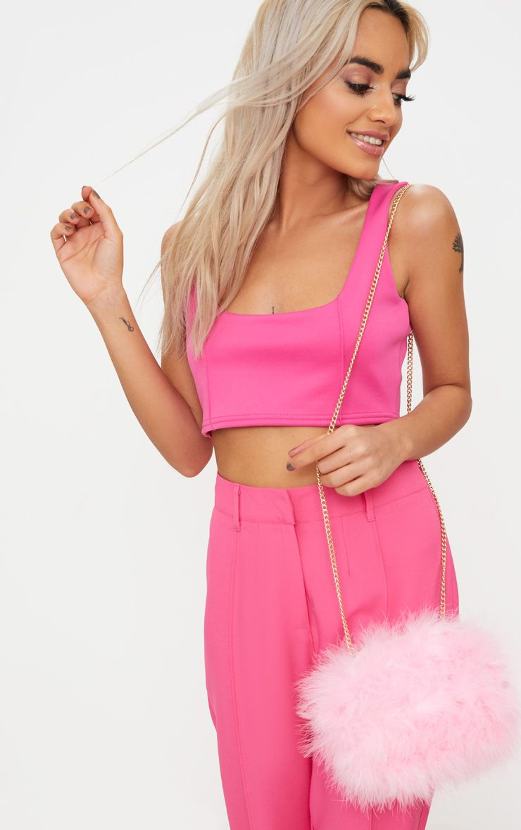 Candy Pink Marabou Feather Clutch Bag 1