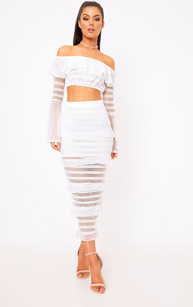 Nalina Ivory Tiered Frill Midaxi Skirt