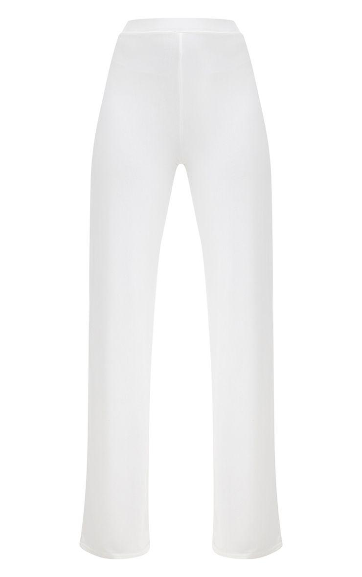 Cream Slinky Palazzo Trousers 3