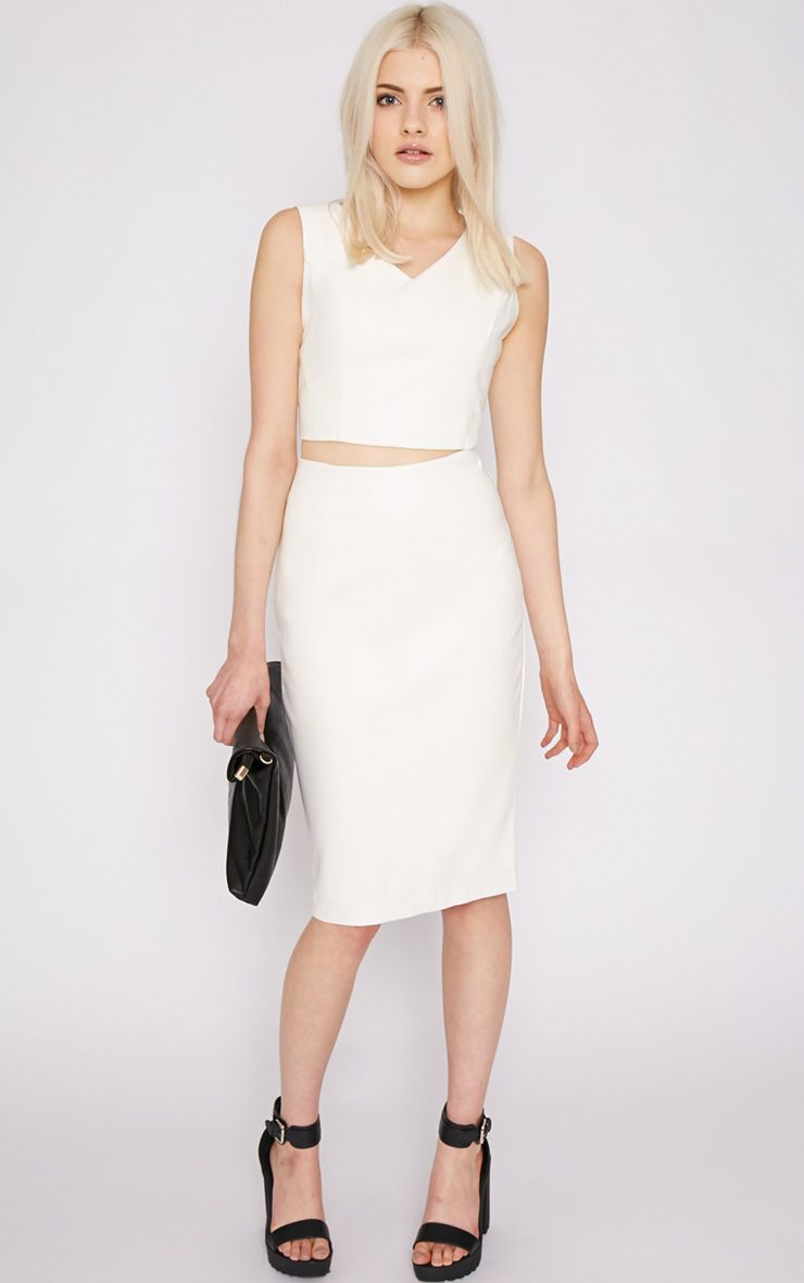 Shary White Leather Midi Skirt  1