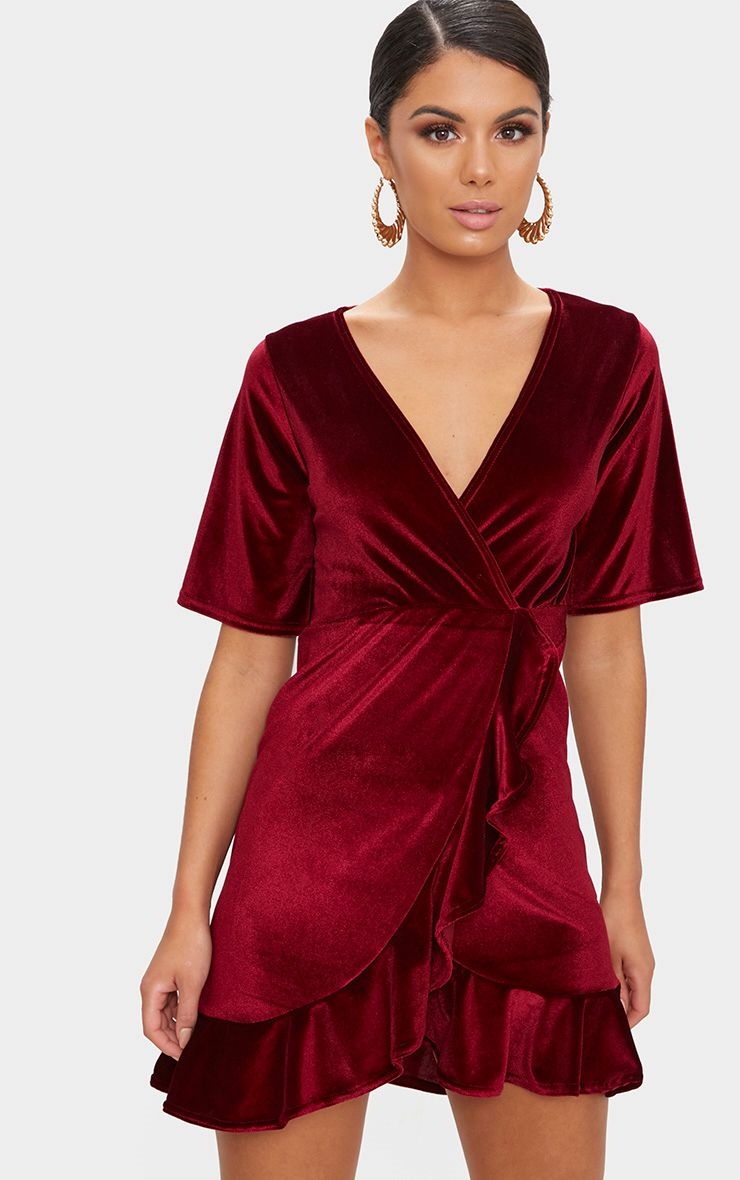 Burgundy Velvet Wrap Frill Detail Bodycon Dress