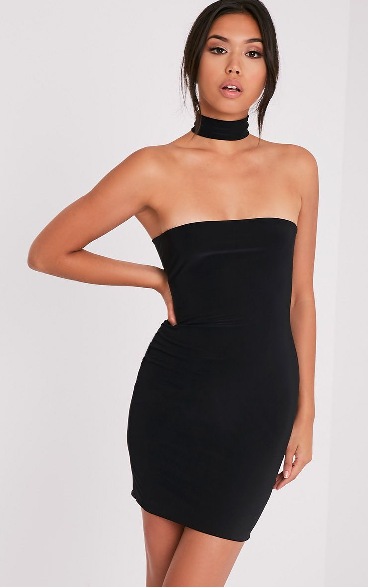 Charlotte Black Slinky Choker Bandeau Bodycon Dress