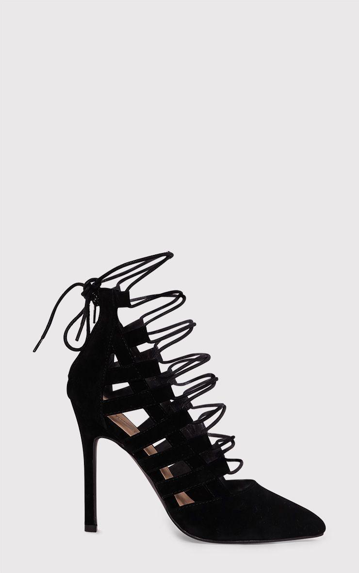 Amaris Black Pointed Strappy Heels 1
