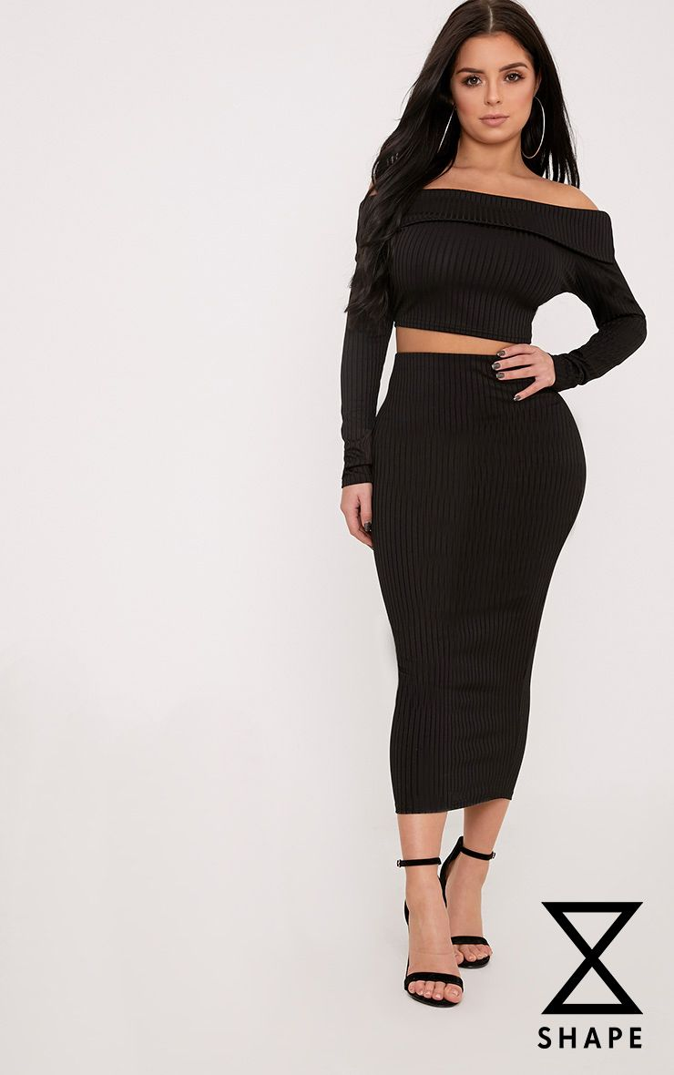 Shape Anika Black Ribbed Midi Skirt