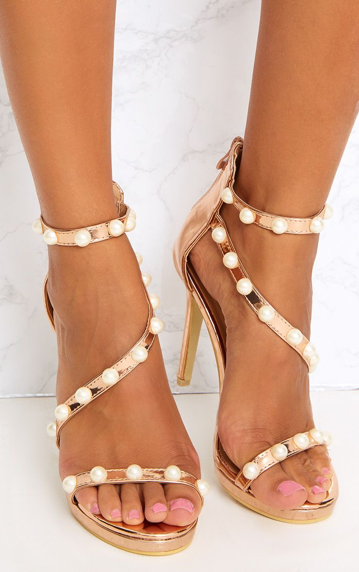 Rose Gold Pearl Triple Strap Heels