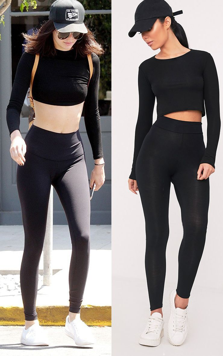 Basic Black High Waisted Jersey Leggings