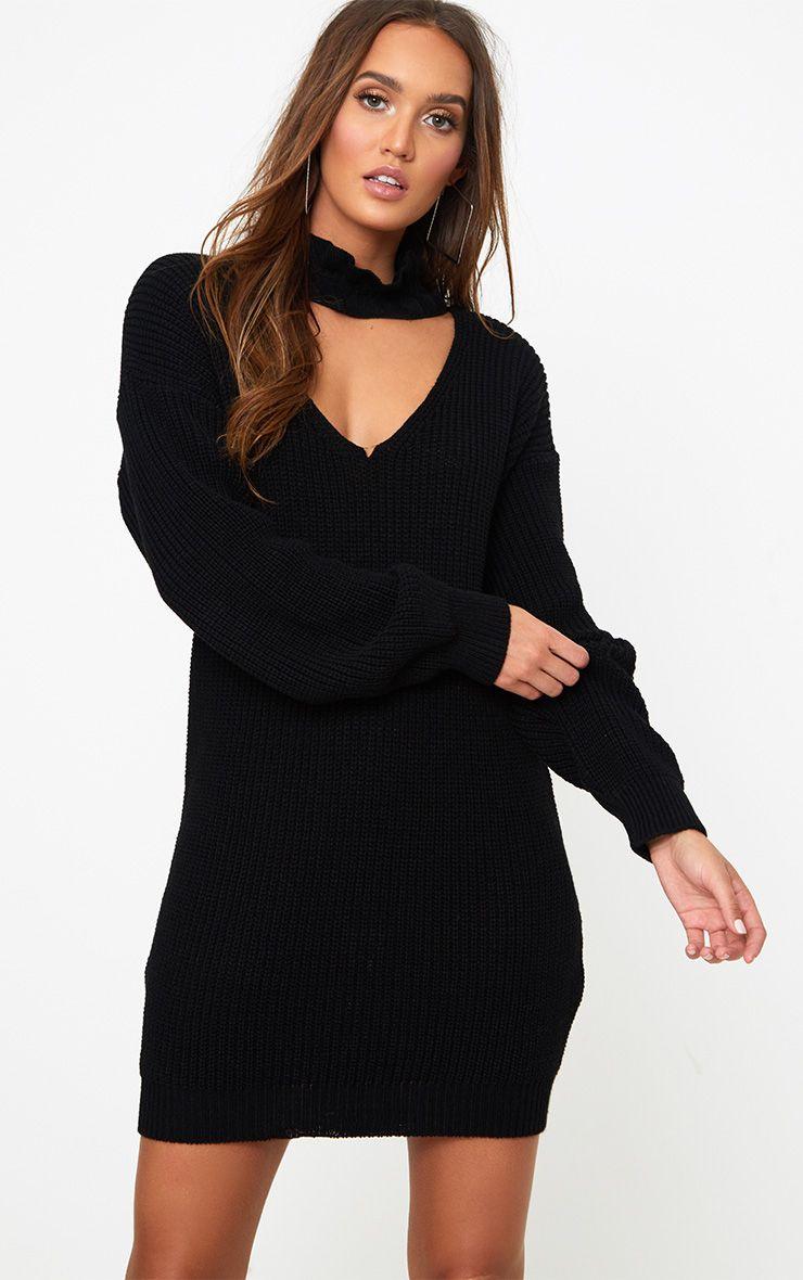 Black Ruffle Choker Knit Mini Dress