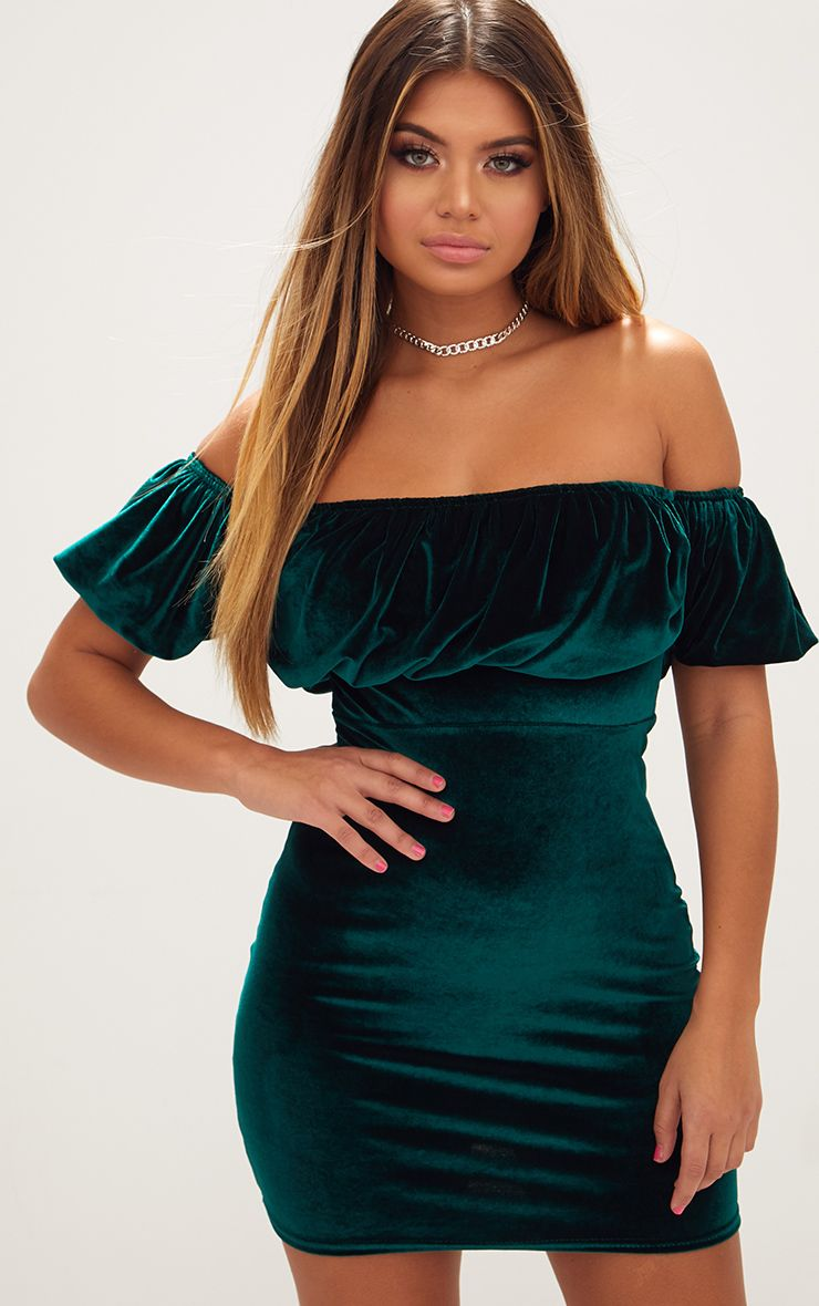 Emerald Green Velvet Ruffle Top Bardot Bodycon Dress