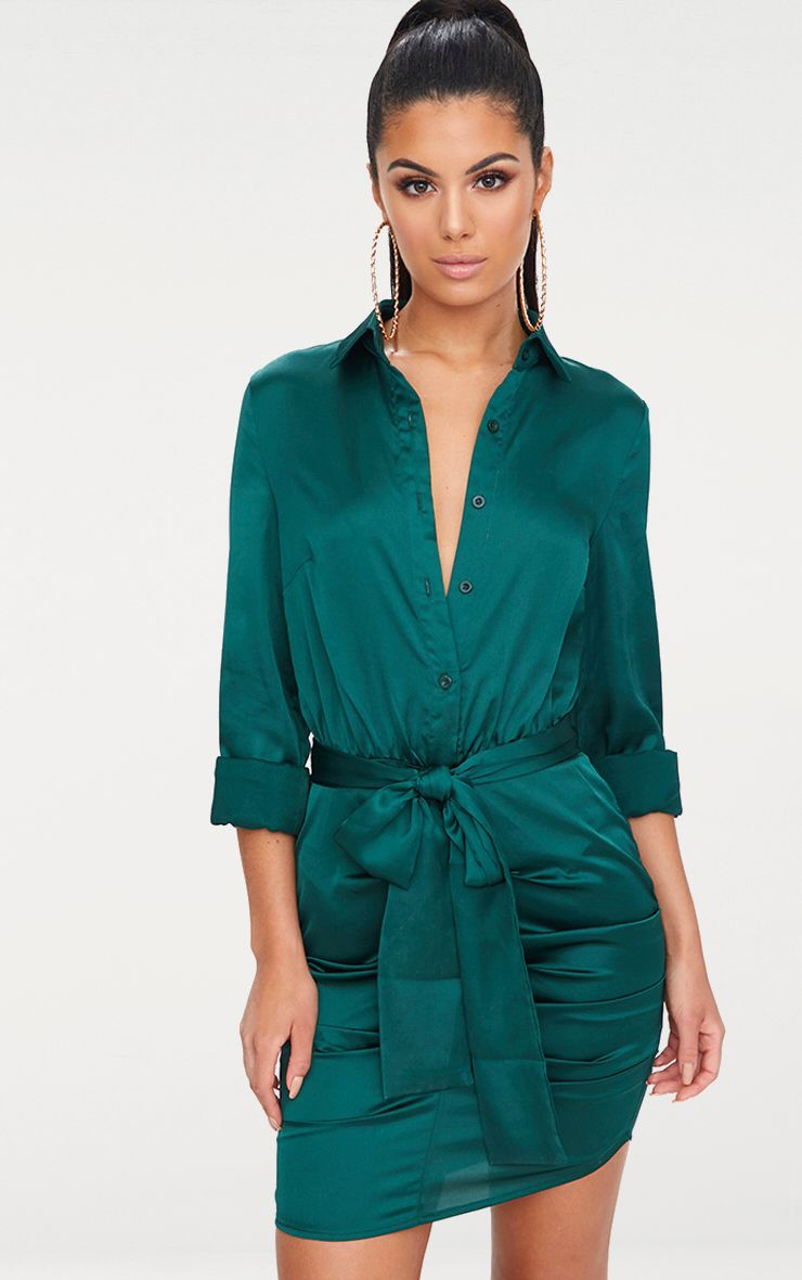 Emerald Green Ruched Front Shirt Dress