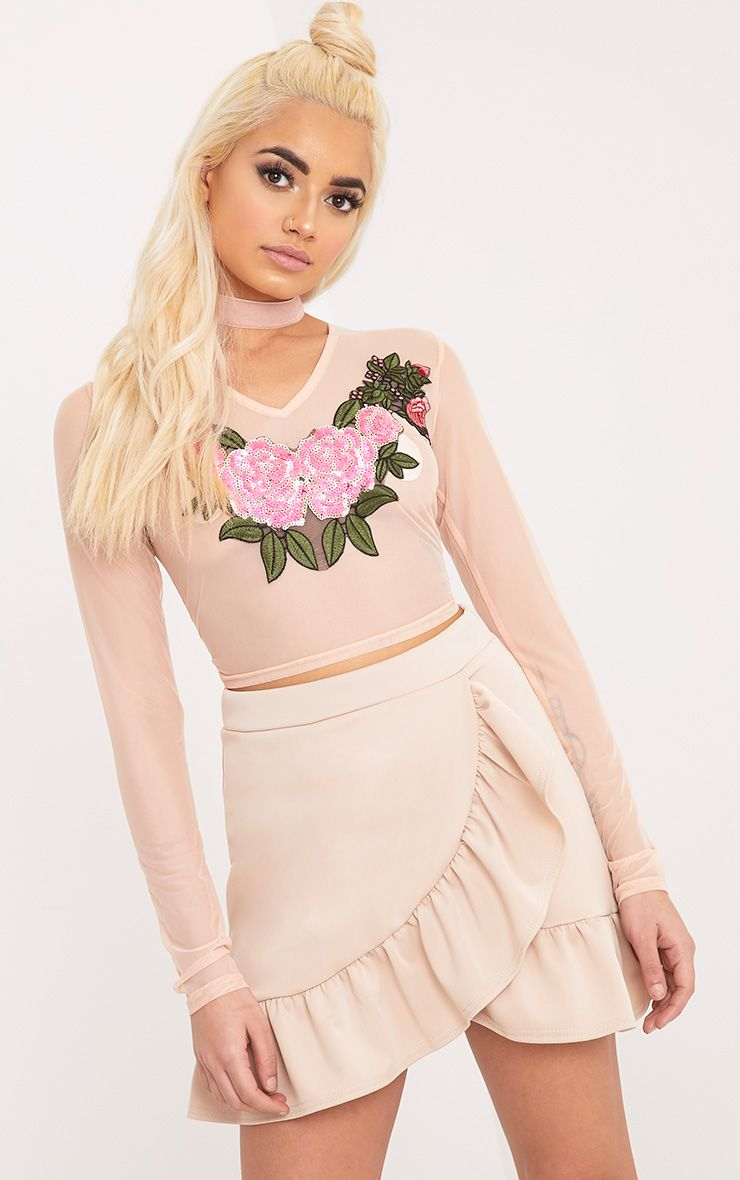 Faula Nude Mesh Sequin Applique Longlseeve Crop Top