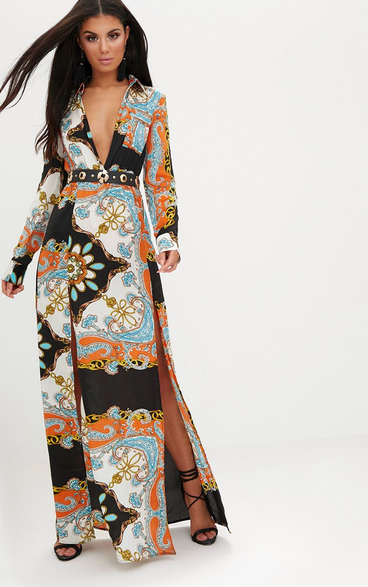 Orange Scarf Print Plunge Long Sleeve Maxi Dress