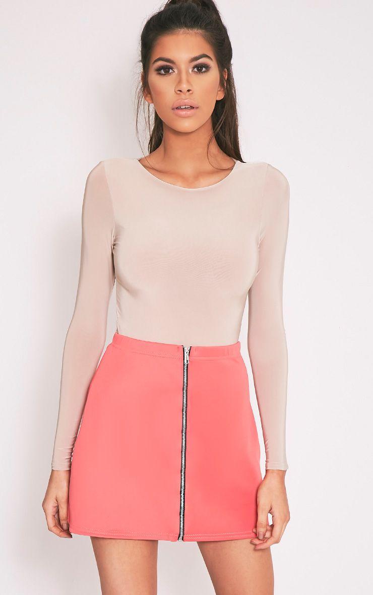 Makayla Coral Zip A-Line Mini Skirt 1