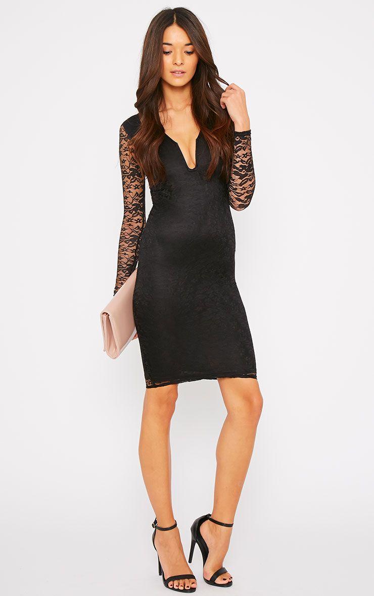 Macie Black Lace Plunge Midi Dress  1