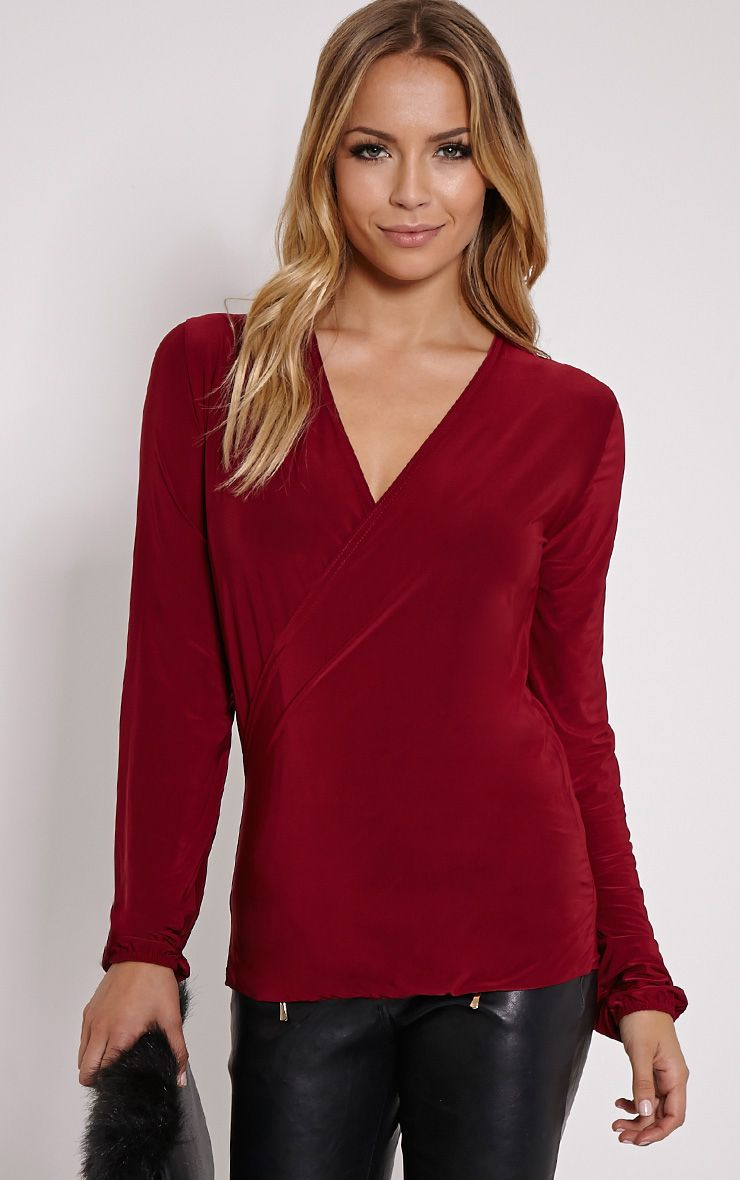 Kimberley Oxblood Slinky Wrap Top 1