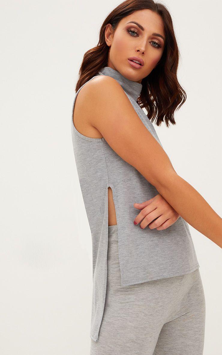 Grey Marl Basic Roll Neck Split Side Vest