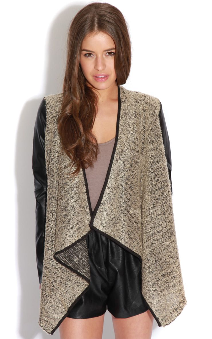 Alicia Beige Leather Sleeve Waterfall Style Cardigan  1