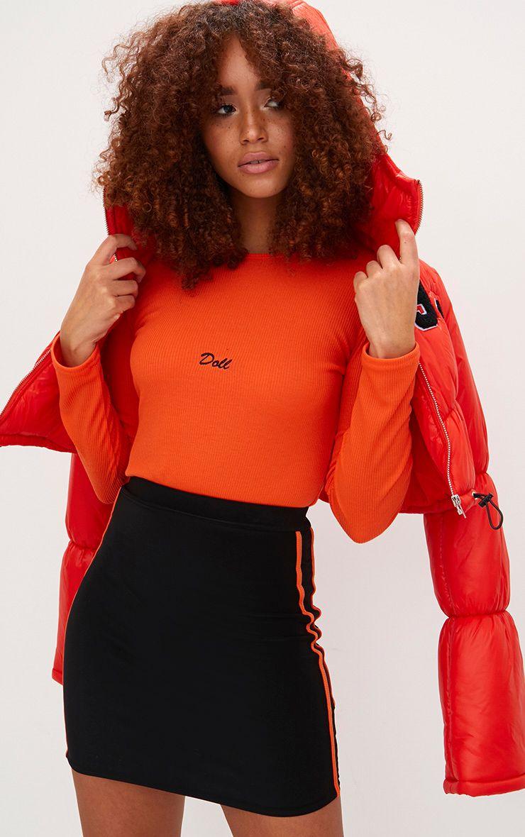 Orange Doll Slogan Jersey Rib High Rise Thong Bodysuit