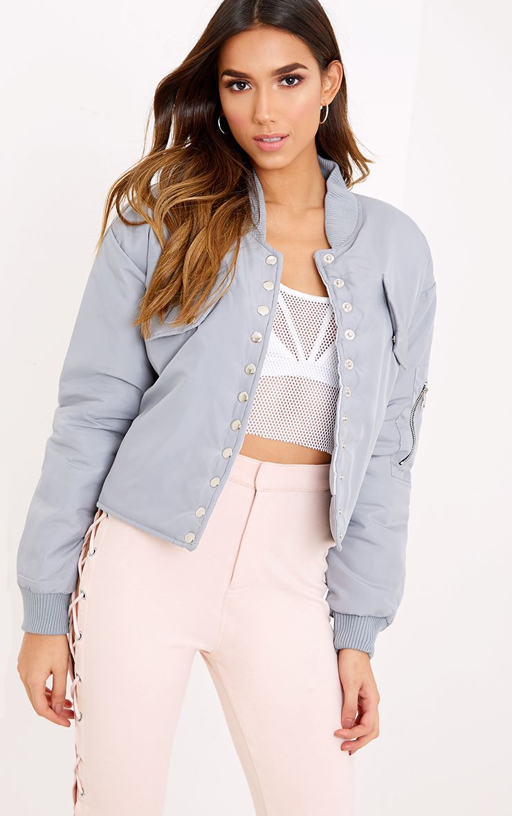 Janeila Grey Military Button Detail Bomber