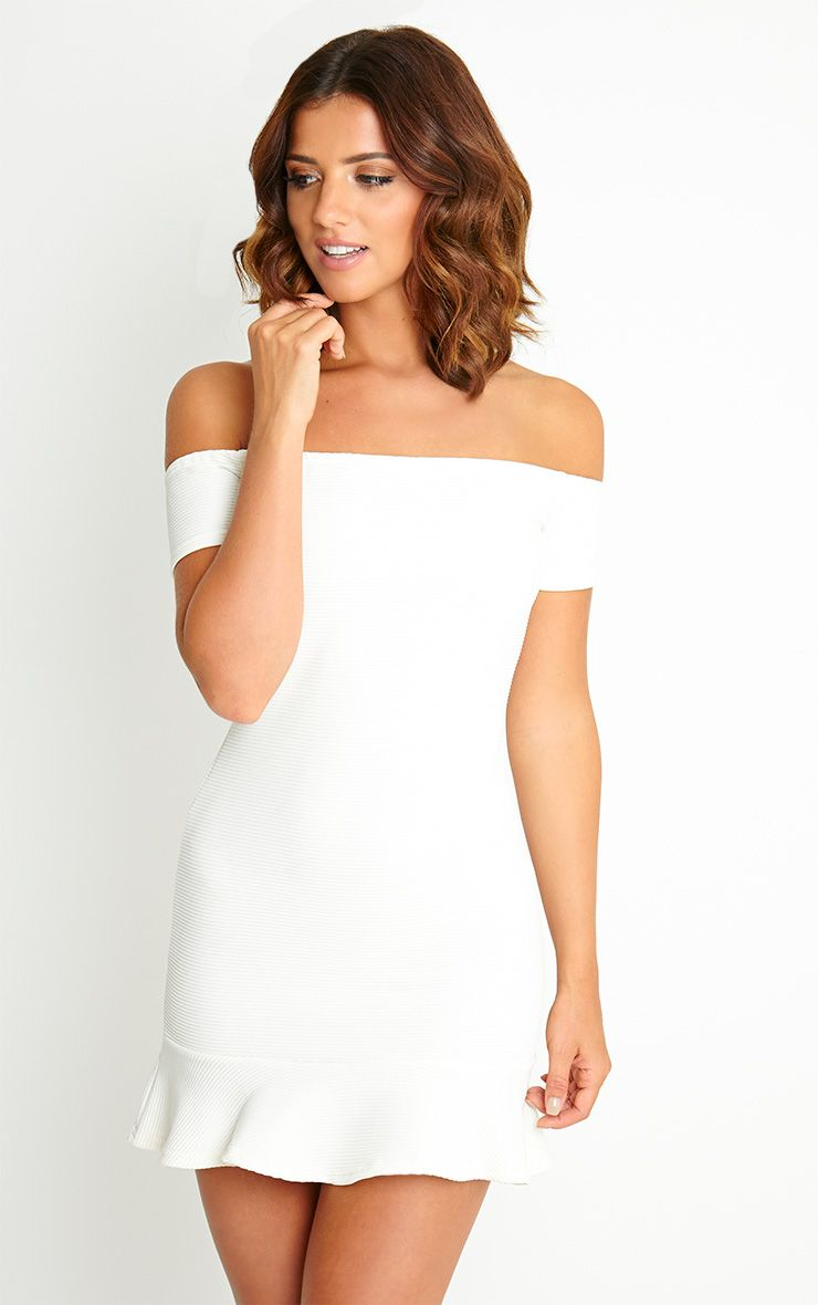 Jo Cream Bardot Drop Hem Dress 1