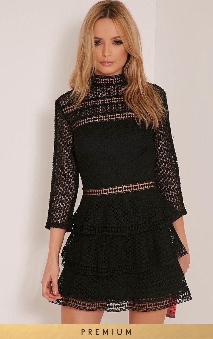 Caya Black Premium Lace Panel Tiered Mini Dress