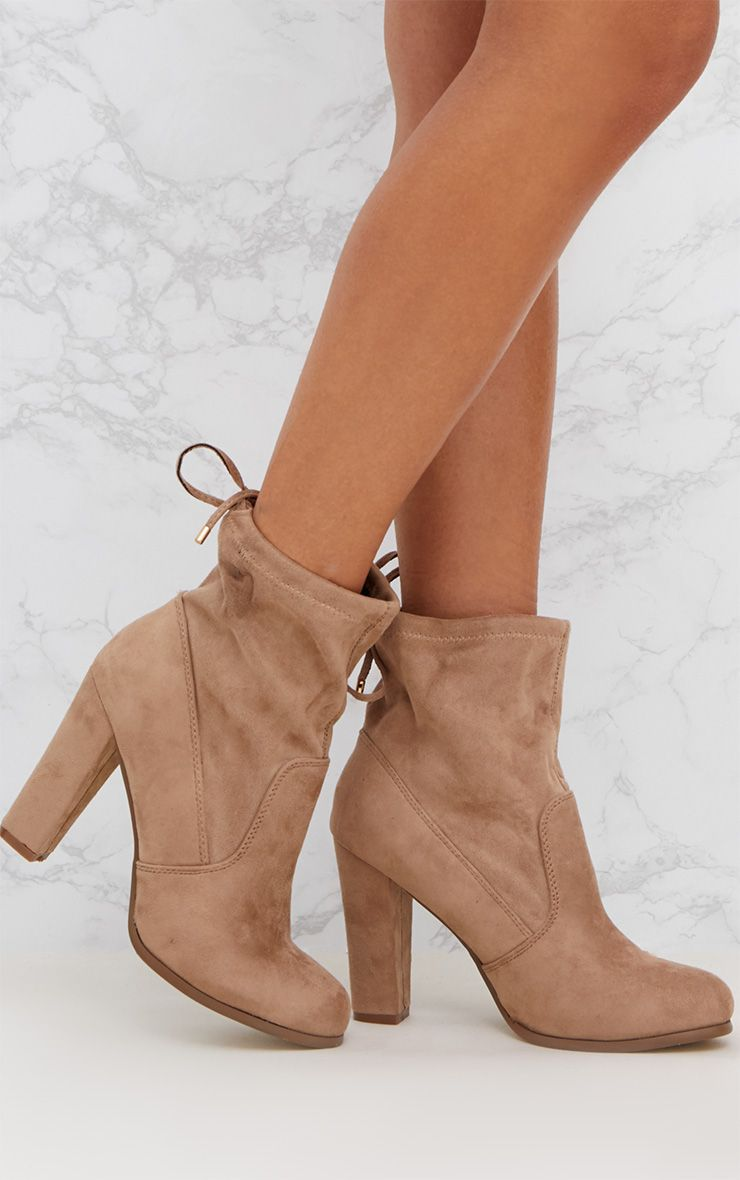 Nude Faux Suede Heeled Ankle Boot