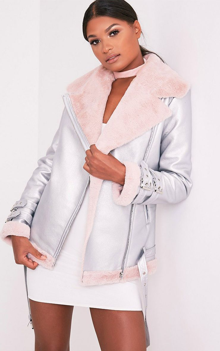 Liane Metallic Silver Faux Fur Lined Aviator Jacket