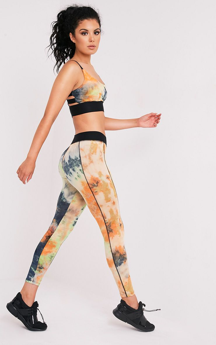 Kacy Orange Tie Dye Gym Leggings 1