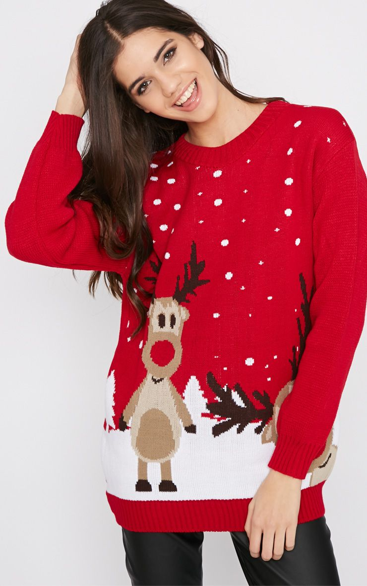 Tarah Red Reindeer Snow Christmas Jumper 1