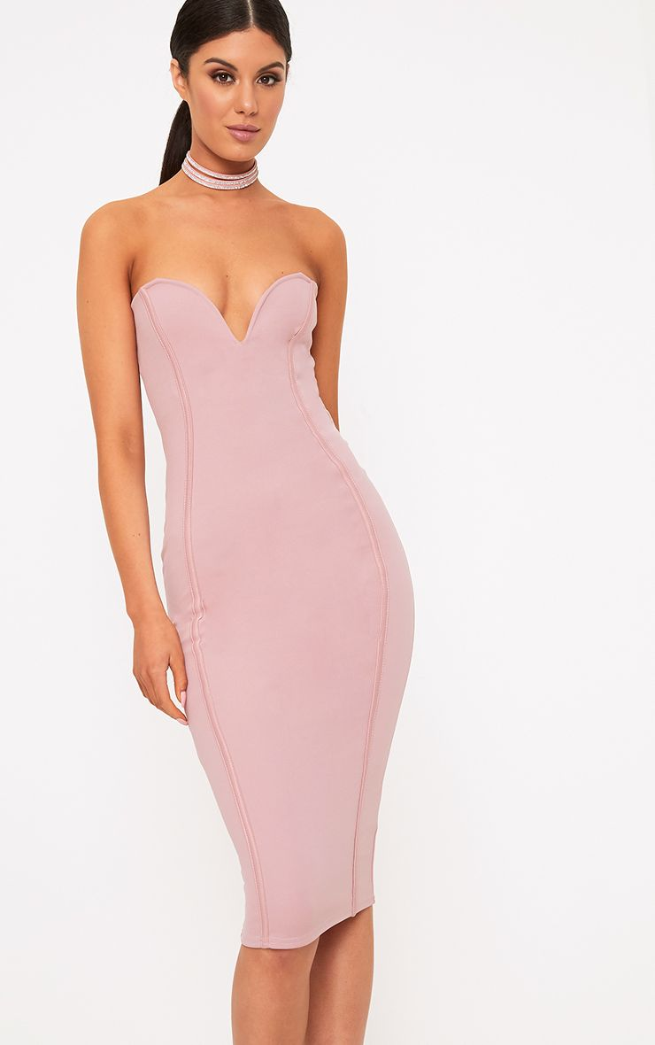 Mauve Bandeau Midi Dress