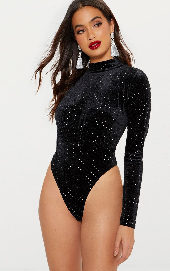 Black Velvet Sparkle Gathered Front Thong Bodysuit