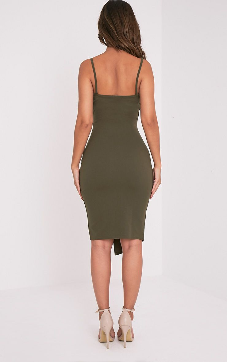 Lauriell Khaki Wrap Front Crepe Midi Dress Dresses