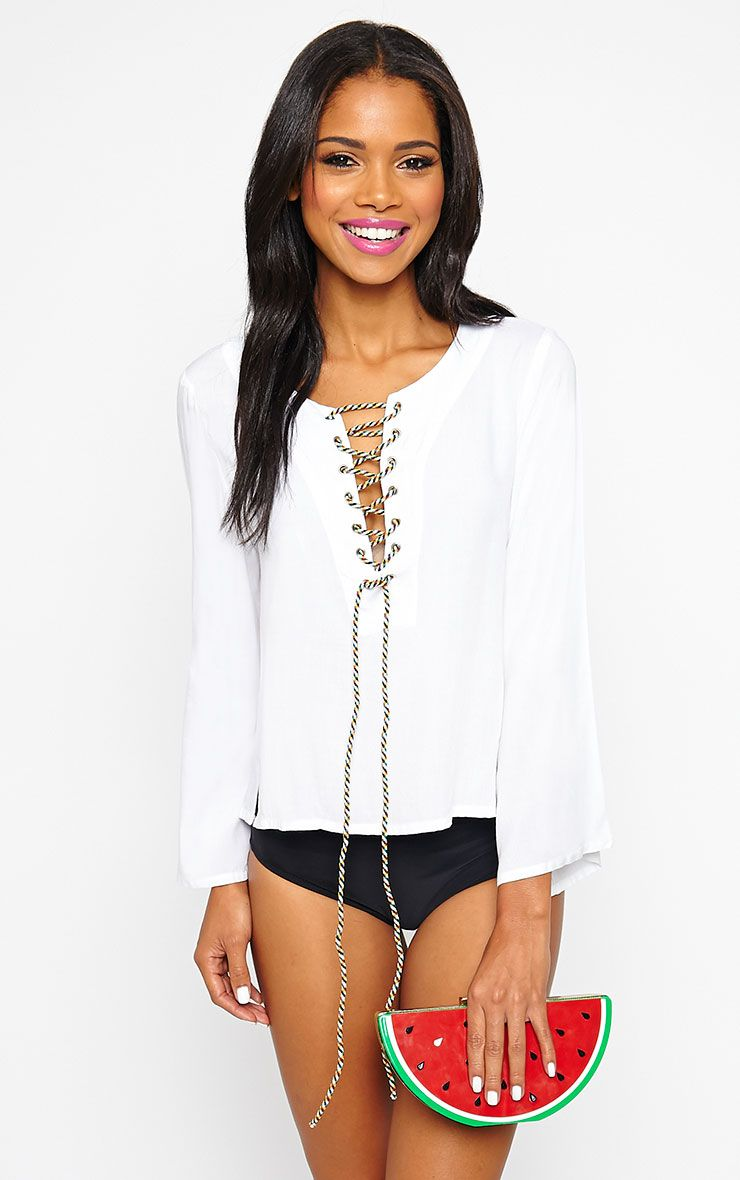 Mylie White Tie Front Top 1