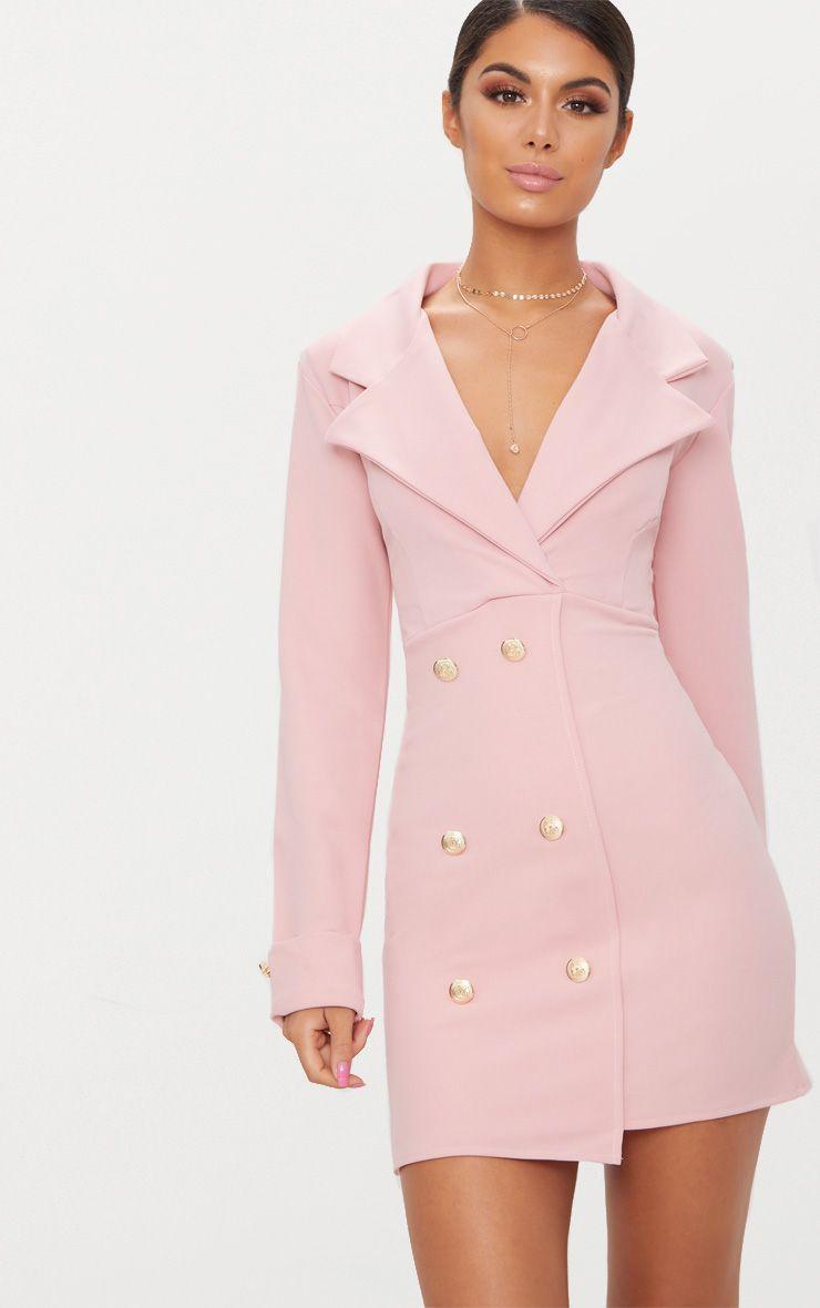 Dusty Pink Gold Button Detail Blazer Dress