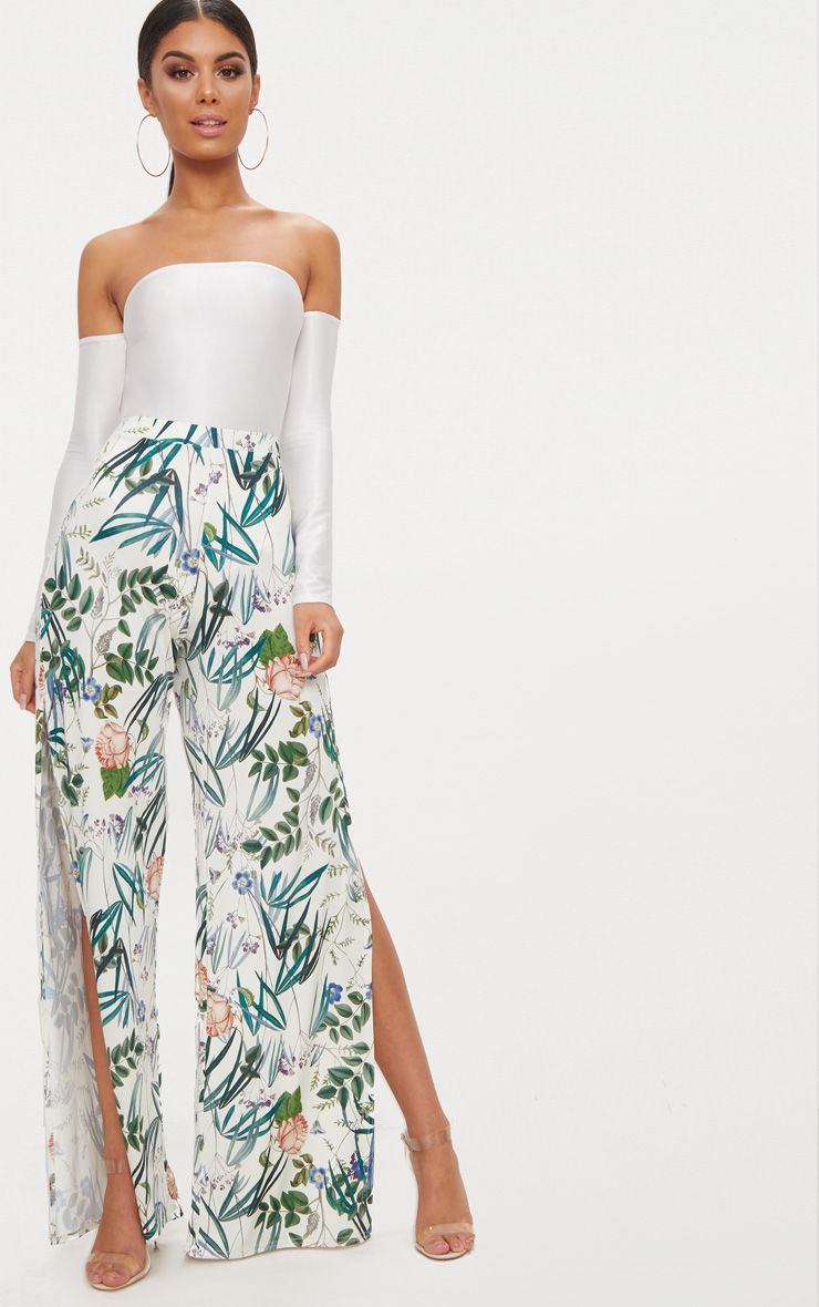 White Floral Print Side Split Wide Leg Trousers