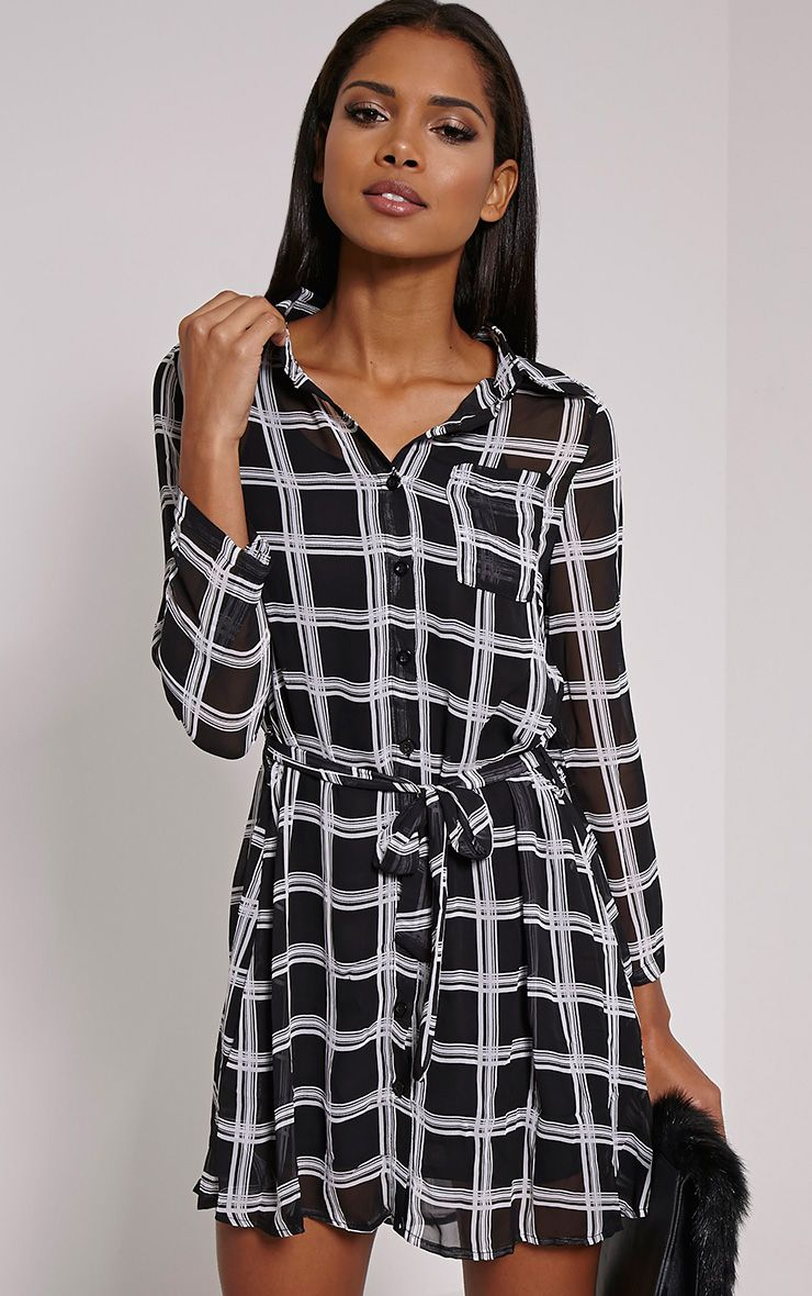 Ember Black Check Print Belted Shirt Dress 1