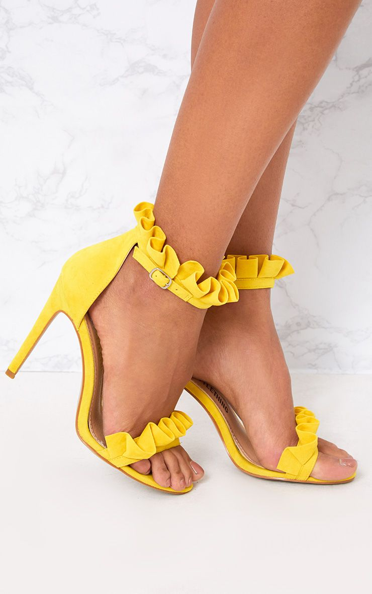 Bright Yellow Frill Strap Heels