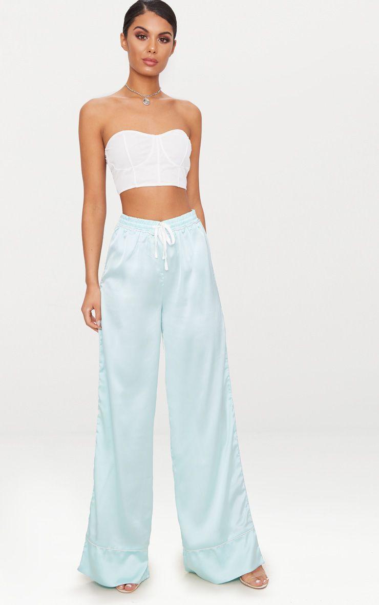 Mint Contrast Binding Satin Trousers