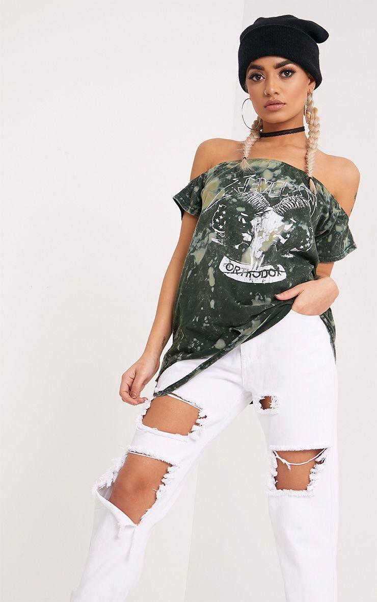 Briar Khaki Bleach Bardot Destroyed Hem Slogan T Shirt