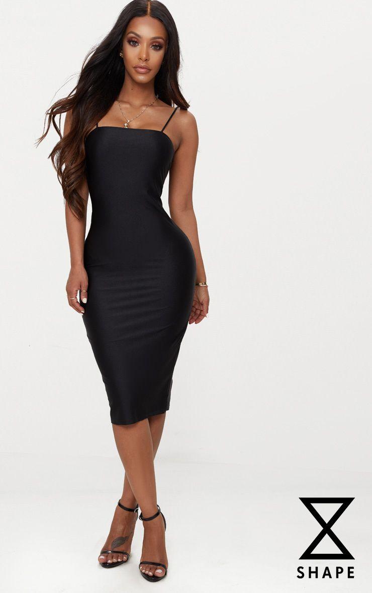 Black Diamante Strap Straight Neck Midi Dress Pretty Little Thing x0gbwcDZ