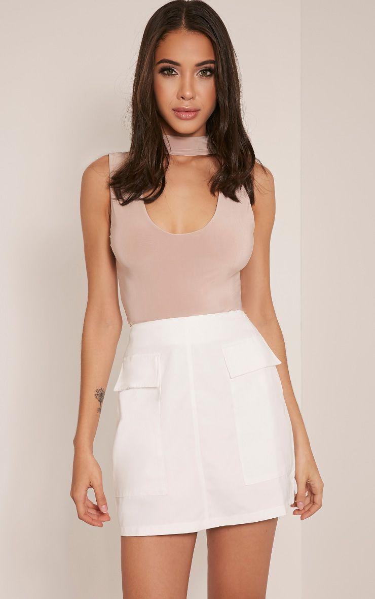 Lottie Cream Faux Suede Pocket Front Mini Skirt
